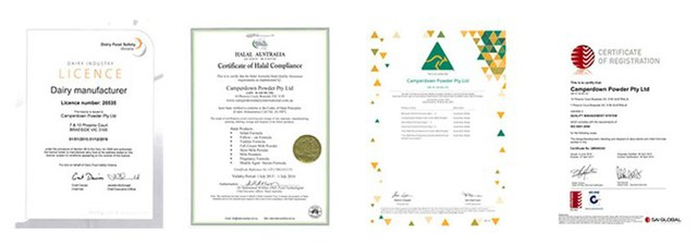 Các chứng nhận chất lượng của chính phủ Australia cho các sản phẩm của CDI.