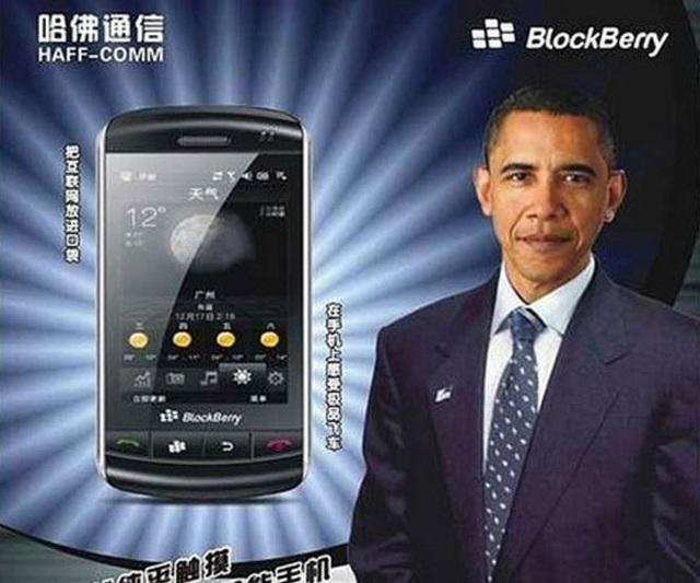 """""""Siêu phẩm"""" điện thoại """"BlockBerry"""" của Trung Quốc, kèm hình Tổng thống Mỹ Barack Obama làm """"gương mặt đại diện""""."""