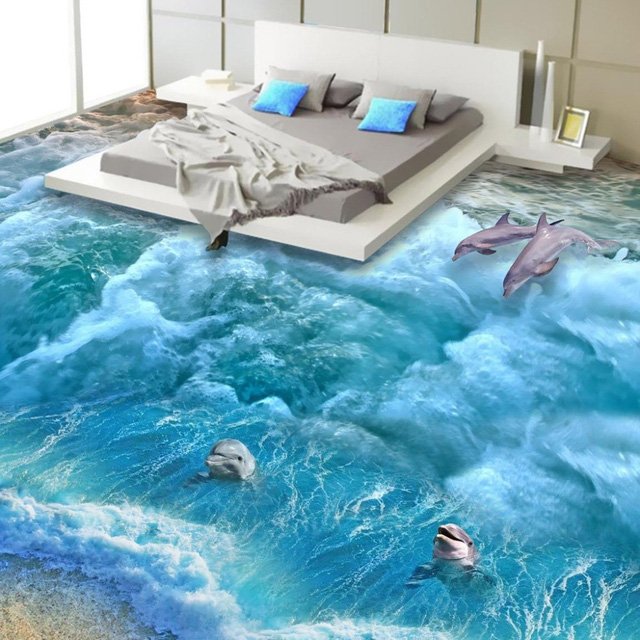 Sàn nhà với biển xanh cát trắng và cá heo đủ để đưa bạn vào giấc mộng đẹp.