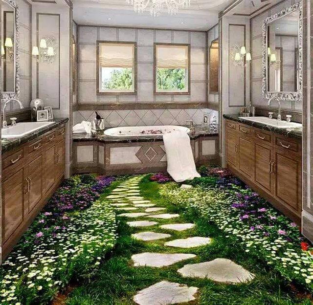 Những hình ảnh vô cùng sắc nét như thật mang cỏ hoa vào cả phòng tắm nhà bạn.