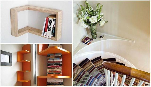 Các góc tường ở cầu thang thường bị lãng quên hoặc bỏ qua. Song với các kệ sách gỗ hoặc kệ để bình hoa, decor trang trí… cầu thang sẽ thêm phần sinh động.