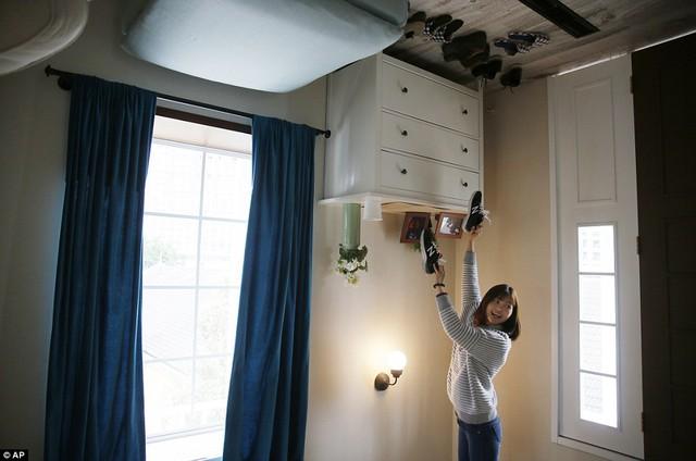 Tất cả mọi vật dụng trong nhà đều được gắn cố định lên trần.