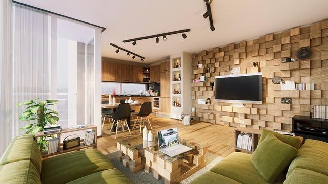 Khối gỗ sole tạo ra một khung cảnh vui tươi với nhiều không gian cho việc lưu trữ. Bàn cà phê được sử dụng theo cùng một ý tưởng như thế tạo nên sự đồng bộ cho ngôi nhà.