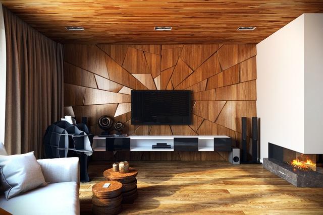 Bạn cũng có thể trang trí mảng tưởng phòng khách với các tấm gỗ gãy được đặt ở những góc độ khác nhau, điều này cho phép chúng lấy được ánh sáng với cường độ khác nhau tạo nên hình ảnh như một tấm gương vỡ vậy. Một ý tưởng độc trong việc trang trí nội thất phòng khách.