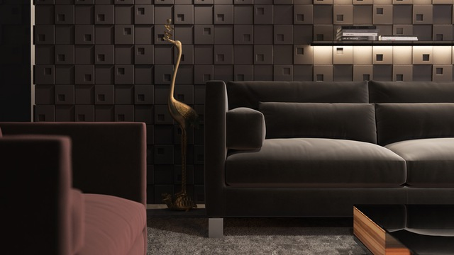 Việc sử dụng những viên gạch loang lổ 3D cũng là một ý tưởng táo bạo cho phòng khách.