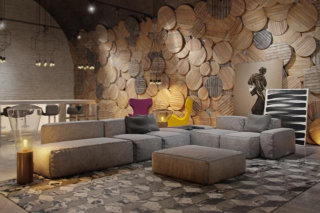 Hay bạn cũng có thể dùng những tấm gỗ hình tròn nhiều kích cỡ xếp chồng lên nhau thế này cũng sẽ tạo nên nét độc đáo riêng cho phòng khách.