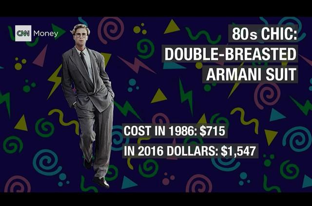 'Bộ cánh thời thượng: âu phục hiệu Armani. Năm 1986, bộ quần áo này có trị giá 715 USD, tương đương với 1.547 USD hiện nay'