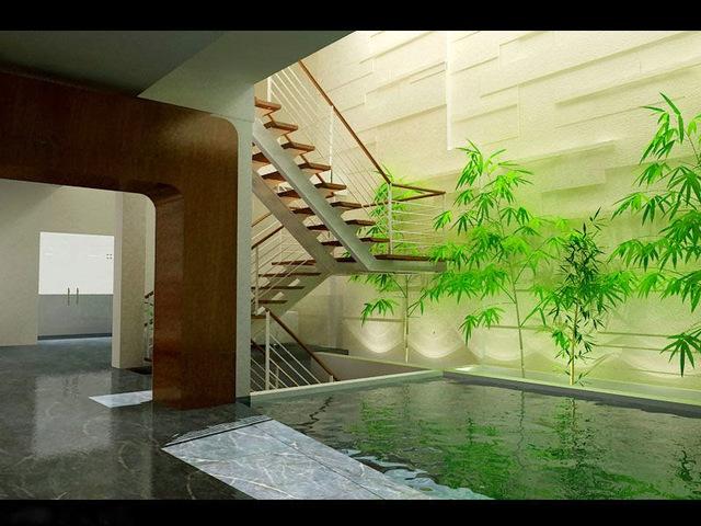 Giếng trời kết hợp với tiểu cảnh sẽ kích hoạt luồng sinh khí cho ngôi nhà.