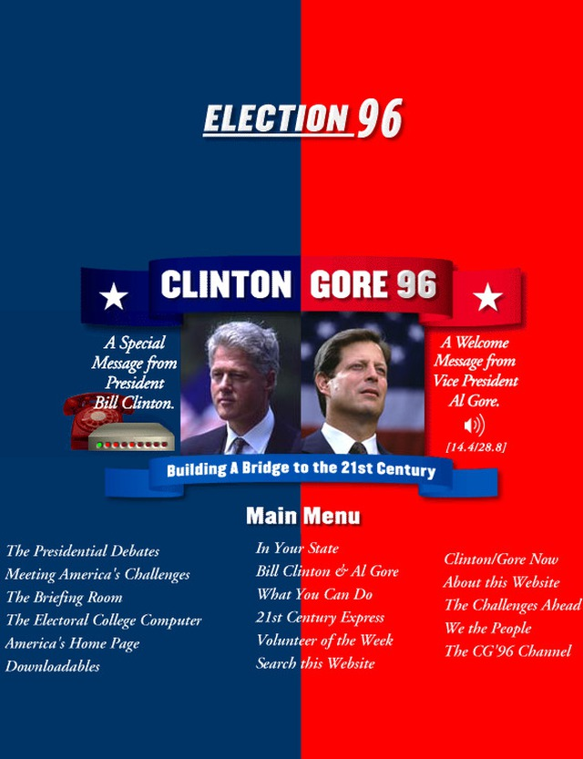 Khi click vào hình chiếc modem, bạn có thể nghe được thông điệp từ Bill Clinton và Al Gore.