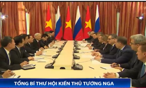 Tổng Bí thư Nguyễn Phú Trọng hội kiến Thủ tướng Nga Medvedev