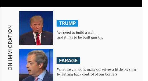 Trump: Chúng ta cần xây một bức tường (giữa Mỹ và Mexico) và cần phải làm điều này ngay lập tức. Nigel Farage: Những gì chúng ta có thể làm là khiến nước Anh an toàn hơn bằng cách giành lại sự kiểm soát nhập cảnh