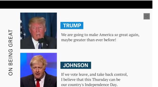 Trump: Chúng ta sẽ xây dựng nước Mỹ trở nên tuyệt vời như trước, thậm chí còn tuyệt hơn cả trước đây. Johnson: Nếu chúng ta bỏ phiếu rời EU và lấy lại sự kiểm soát đất nước, tôi tin rằng ngày 23/6 này sẽ là ngày giành độc lập mới của nước Anh.