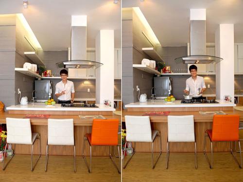 Phòng bếp rộng rãi và được bài trí theo phong cách rất hiện đại.