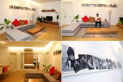 Không gian phòng khách được bố trí đơn giản, thanh lịch nhưng vô cùng ấm cúng.