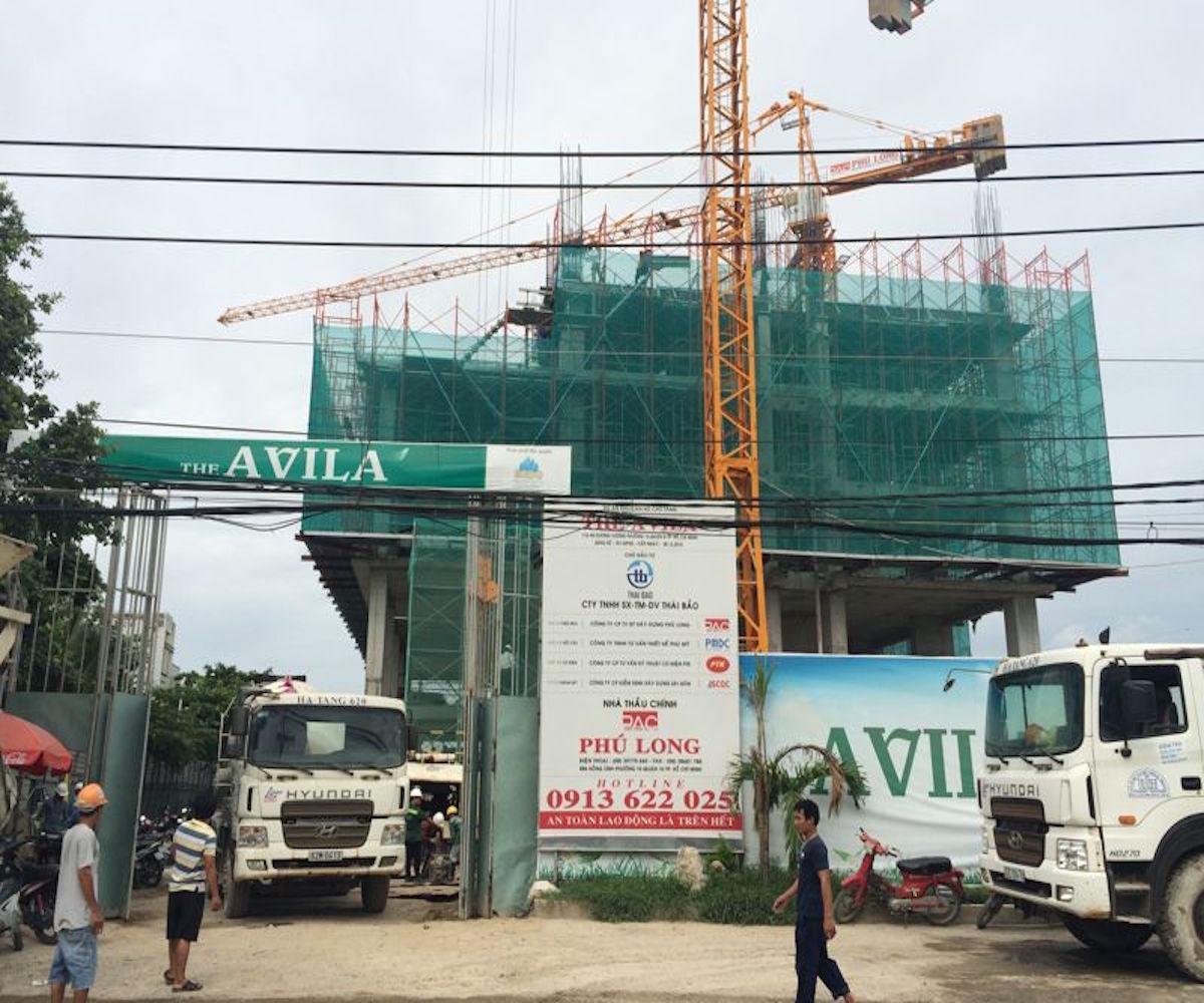 Thời điểm tháng 7/2016, dự án căn hộ The Avila (Quận 8) của Công ty TNHH Sản Xuất – Thương Mại – Dịch Vụ Thái Bảo đang thi công xây dựng đến tầng 5.