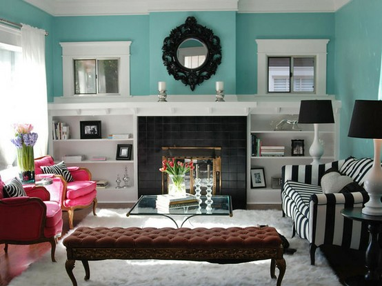 Bright Turquoise Living Room