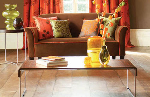 Chocolate And Orange Living Room Design