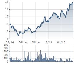 Biến động giá cổ phiếu VNE trong 1 năm