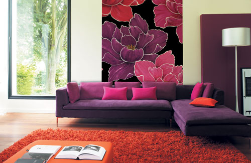 Colorful Living Room Design With A Large Print