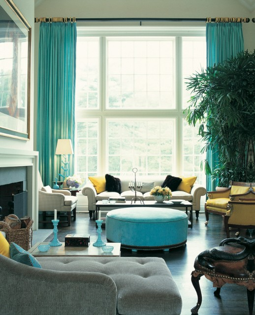 Colorful Turquoise And Yellow Living Room