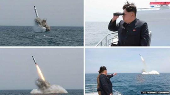 Nhà lãnh đạo Kim Jong-un đang chú ý quan sát vụ thử tên lửa từ tàu ngầm. Ảnh: The Rodong Sinmun