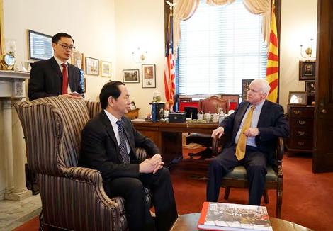 Bộ trưởng Trần Đại Quang hội kiến với Thượng nghị sĩ John McCain