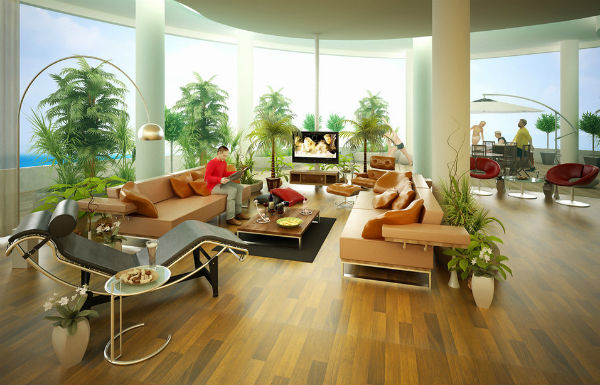 Cây xanh tạo dưỡng khí rất tốt cho phòng khách.