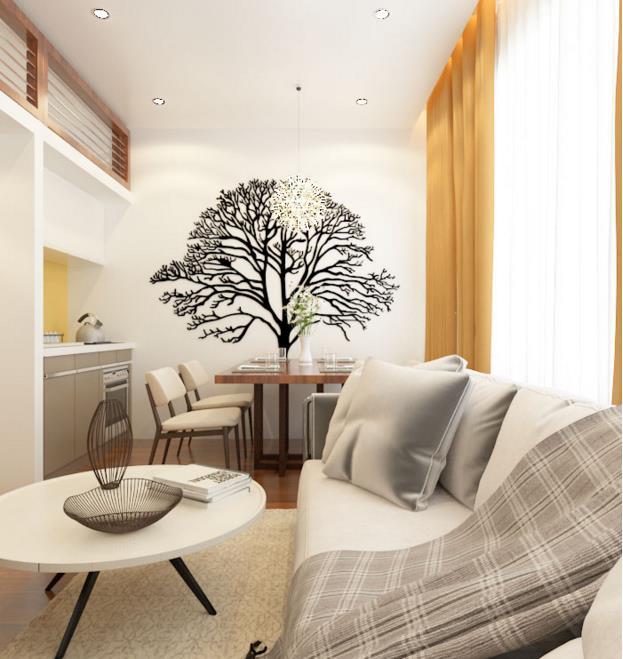 Nơi tiếp khách, bàn ăn kiêm bàn làm việc được thiết kế đơn giản, nhỏ gọn, tiết kiệm không gian khiến căn nhà dù phải kiêm nhiệm nhiều chức năng vẫn gọn gàng, tiện dụng.
