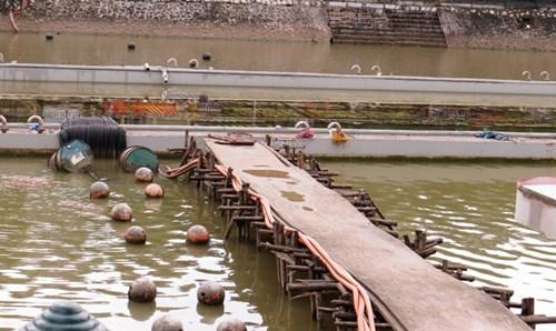 Toàn cảnh công trình nhạc nước trên hồ Tam Bạc.