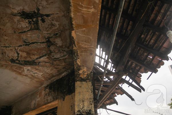 Phần mái ngói của biệt thự nhiều chỗ hư hỏng, ngói vỡ vụn, trống toác. Phần trần nhà cũng nứt nẻ, ẩm mốc, phủ rêu phong...