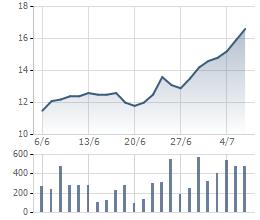 Diễn biến giao dịch VCG trong 1 tháng qua