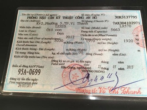 Ông Võ Chí Thanh là người trực tiếp cấp biển số xanh cho chiếc Lexus 570 của ông Trịnh Xuân Thanh