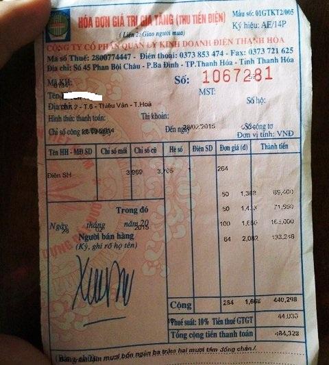 Hóa đơn gộp tiền điện 5 tháng của gia đình anh Hà Văn Thiết
