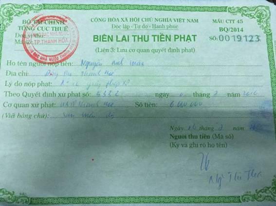 Biên lai nộp phạt của ông Nguyễn Anh Tuấn đối với hành vi vi phạm Luật Xây dựng.