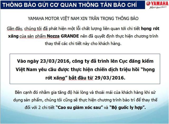 Hãng Yamaha Việt Nam bất ngờ triệu hồi xe Grande3