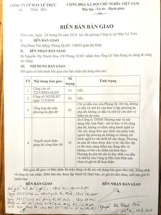 Biên bản bàn giao ngày 24/6/2016 giữa phòng quản lý đô thị và Công ty CP May Lê Trực có nhiều dấu hiệu bất thường.