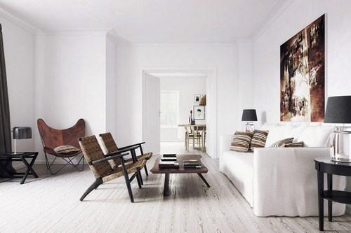 Những món đồ nội thất như bàn, ghế dễ dàng nổi bật trên tone màu trắng