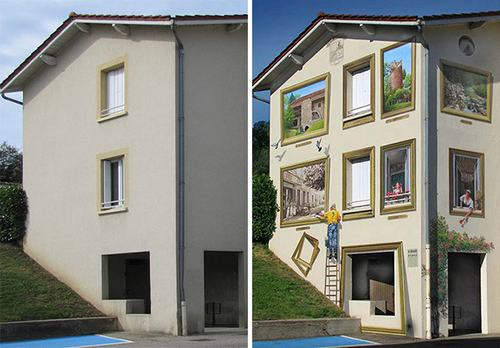 Những khung cửa sổ nhiều màu sắc được vẽ thêm.
