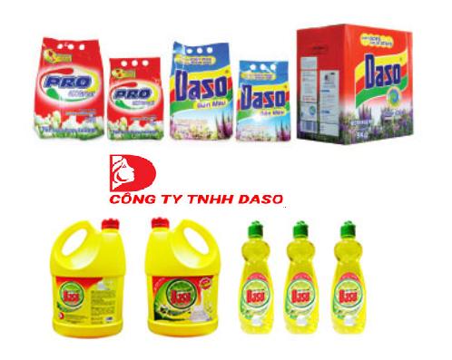 Một số sản phẩm bột giặt, nước rửa chén mang thương hiệu Daso