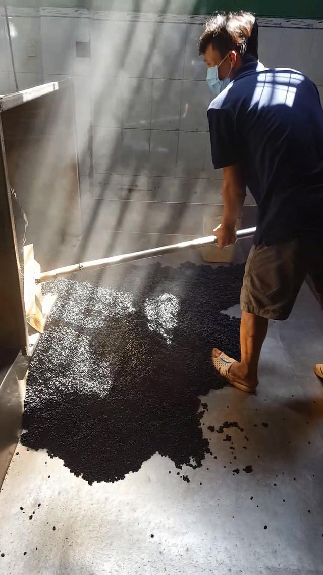 Tẩm ướp hương liệu gia công cà phê độn đậu nành - Ảnh: NGỌC DƯƠNG