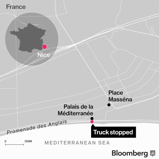 Vị trí vụ khủng bố trên bản đồ Pháp.