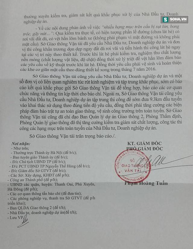 Báo cáo của Sở GTVT Hà Nội.