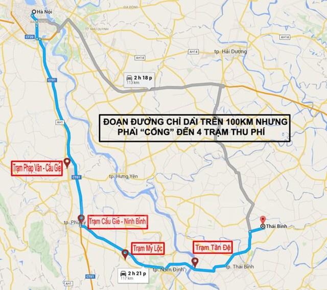 Tuyến đường Hà Nội-Thái Bình chỉ gần 150km nhưng có tới 4 trạm phí mọc lên. (Ảnh: Doãn Đức/Vietnam+)