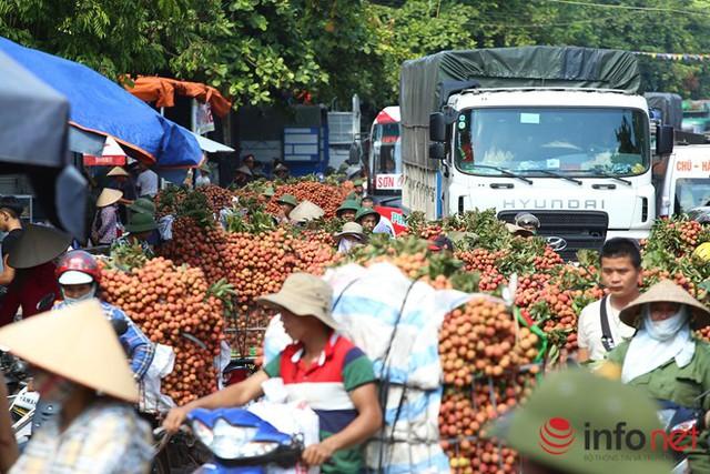 Mùa vải chín rộ cũng là lúc biển vải tràn về quốc lộ 31 tại xã Phượng Sơn, người dân đợi cân vải nên thường xuyên ùn tắc cục bộ tại khu vực này.