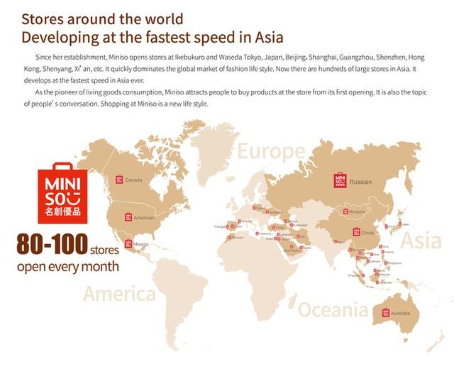 Bản đồ sự phủ sóng của Miniso trên toàn thế giới.