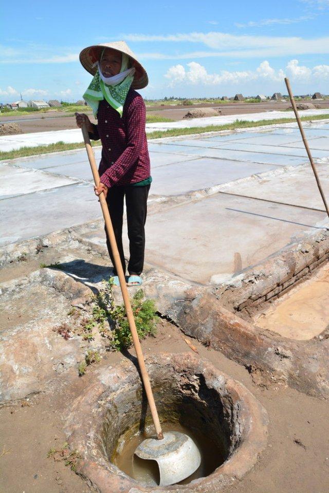 Nước sau khi lọc có độ mặn cao đang được múc lên phơi trên ruộng - Ảnh: Phạm Tô Chiêm