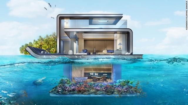 Floating Seahorse, Dubai: Căn biệt thự này được thiết kế theo chủ đề nhà thuyền với 3 tầng. 2 tầng trên nổi hoàn toàn trên mặt nước và 1 tầng chìm hẳn dưới mặt biển. Được mang tới bởi tập đoàn Kleindienst và các chuyên viên thiết kế, căn biệt thự là một phần trong khu resort Heart of Euro trên bờ biển Dubai.