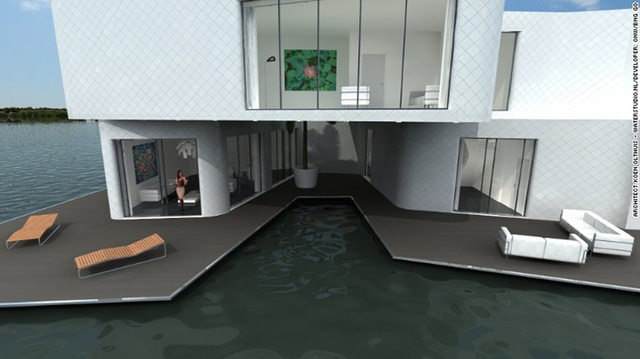 Tòa nhà gồm 180 khoang được xây dựng trên nền móng bê tông có thể nổi trên mặt nước. Ngoài ra với thiết kế riêng đạt hiệu quả cao, năng lượng mà tòa nhà tiêu thụ ít hơn 25 phần trăm so với một tòa nhà thông thường cùng kích cỡ.