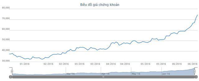 Diễn biến giá cổ phiếu KSB trong 6 tháng đầu năm 2016
