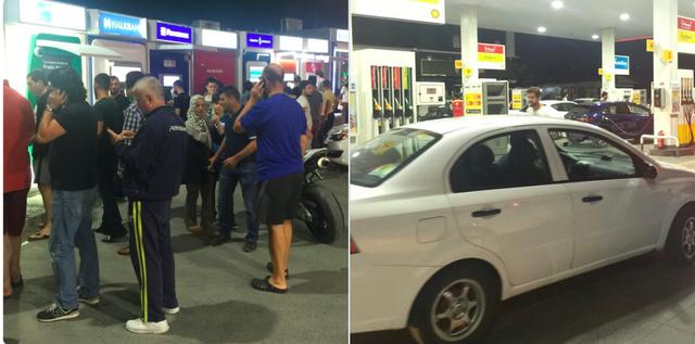 Người dân đua nhau đi rút tiền và đổ xăng, chuẩn bị cho một hành trình sơ tán trong trường hợp xấu nhất. Ảnh: Twitter NV.